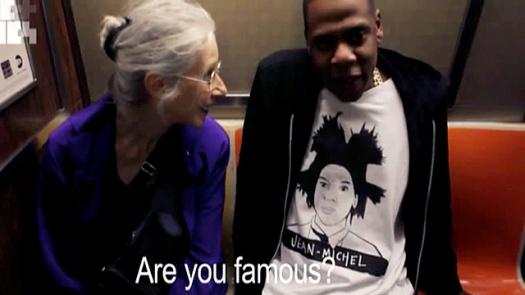 Jay-Z on New York subway with elderly artist