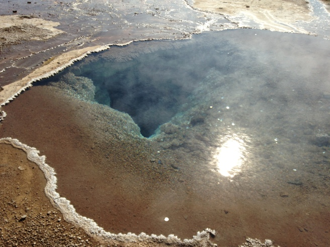 Here you can sort of see just how deep into the ground some of these geysers reach. For instance, after Strokkur erupts, its center is hollowed out, and if you stand close enough, you can watch a new surge of water fill it back up.