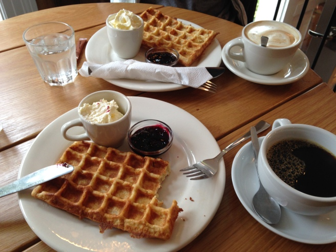 Icelandic waffles – so delicious that I snuck a couple bites before I could even snap a picture.