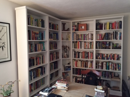 The study of the new house (with IKEA-hacked bookcase by me).